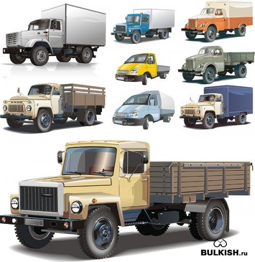 Большие русские грузовики в векторе